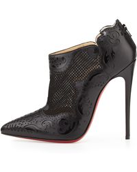 Christian Louboutin Mandolina Laser-cut Mesh Red Sole Bootie - Lyst