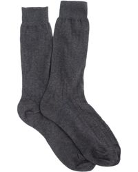J.Crew Ribbed Cotton Dress Socks gray - Lyst