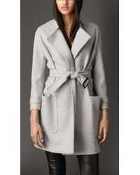 Burberry Wool Belted Wrap Coat - Lyst