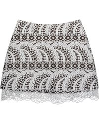 Cynthia Rowley Jacquard Mini Skirt W- Lace Trim beige - Lyst