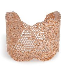 Aurelie Bidermann Rose Gold Lace Cuff - Lyst