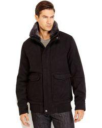 Joseph Abboud Black Real Fur Trim Shearling Coat - Lyst