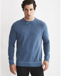Only & Sons | Mens Crew Neck Sweatshirt With Eyelet Detail Blue | Lyst