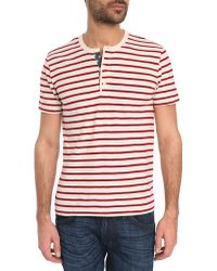 Denim & Supply Ralph Lauren Henley Red Striped T-Shirt With Flag Button Tab - Lyst