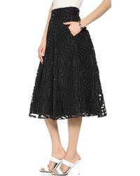 Milly Aztec Midi Skirt - Black - Lyst