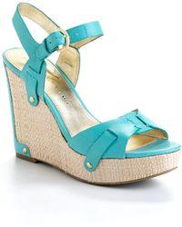 Ivanka Trump - Hollyann Leather Wedge Sandals - Lyst