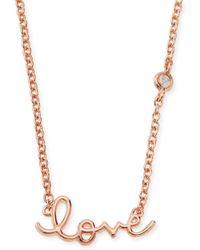 Shy By Sydney Evan - Rose Gold Love Pendant Bezel Diamond Necklace - Lyst