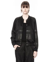Alexander Wang Satin Bomber With Leather Stripe Combo - Lyst