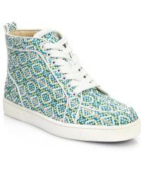Christian Louboutin Rantus Woven Leather Hightop Sneakers - Lyst
