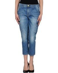 Current/Elliott Blue Denim Capris - Lyst