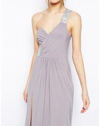 Asos Embellished Shoulder & Side Maxi Dress - Lyst