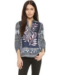 Diane von Furstenberg | Chrystie Top - Leaf Placement Indigo | Lyst