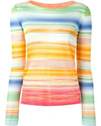 Missoni Striped Crew Neck Sweater - Lyst
