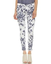 7 For All Mankind The Ankle Skinny Jeans - Indigo Freesia Print - Lyst