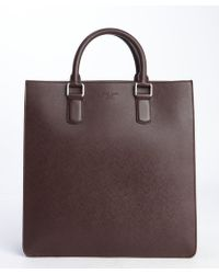 Giorgio Armani Burgundy Leather Top Handle Messenger Bag - Lyst