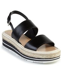 Prada | Microsole Leather Double-band Sandals | Lyst