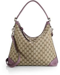 Gucci Miss Gg Original Gg Canvas Hobo Bag beige - Lyst
