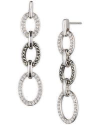 Judith Jack - Sterling Silver Marcasite And Crystal Open Oval Linear Earrings - Lyst