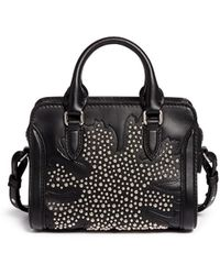 Alexander McQueen 'Padlock' Mini Floral Patchwork Stud Leather Bag - Lyst