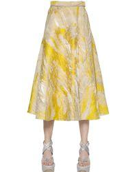 Ferragamo Lurex & Silk Jacquard Midi Skirt - Lyst