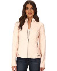 Sam Edelman Zip Front Vegan Leather Jacket - Lyst