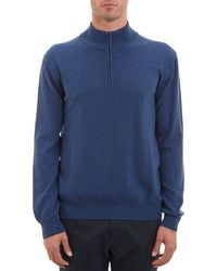 Barneys New York Blue Zipfront Sweater - Lyst