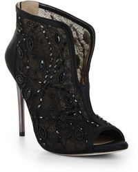 BCBGMAXAZRIA Deedie Peep-toe Lace Dress Bootie - Lyst