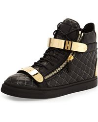 Giuseppe Zanotti Mens Quilted Leather Hightop Sneaker - Lyst