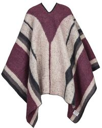 Brixton - 'barry' Stripe Woven Poncho - Lyst
