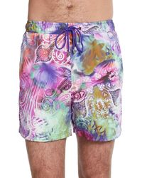 Etro Watercolor Floral Paisley Swim Trunks - Lyst