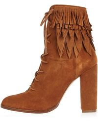 River Island | Tan Suede Lace-up Fringed Heeled Boots | Lyst