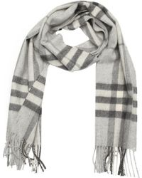 Burberry Pale Grey Check Cashmere Woven Scarf - Lyst