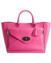 Mulberry Fuchsia Leather Willow Convertible Front Pocket Large Tote - Lyst