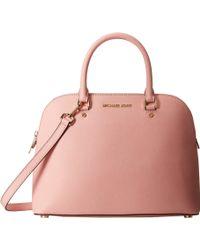 MICHAEL Michael Kors Cindy Large Dome Satchel pink - Lyst