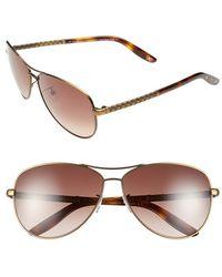 Bottega Veneta Women'S 61Mm Special Fit Aviator Sunglasses - Semi Matte Brass - Lyst