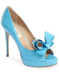 Valentino 'Couture' Patent Leather Platform Pump blue - Lyst