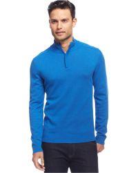 Alfani - Red Big And Tall Solid Quarter-zip Sweater - Lyst