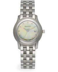 Gucci Diamond Stainless Steel Link Watch - Lyst