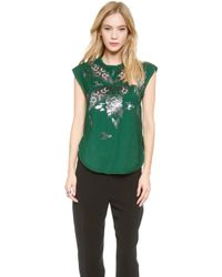 By Malene Birger Batiluka Embellished Top Peacock Green - Lyst