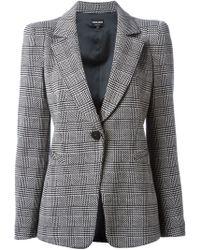 Giorgio Armani Check Pattern Blazer - Lyst