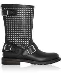 Burberry Studded Leather Biker Boots - Lyst