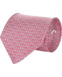 Ferragamo Pink Dragonfly-print Tie - Lyst