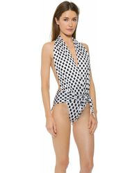Thayer Splash Halter One Piece - White/Black Polka Dot - Lyst