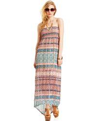 American Rag Strapless Printed Maxi Dress - Lyst