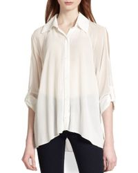 Alice + Olivia Gibson Cutout-Shoulder Blouse - Lyst