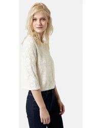 Topshop Lace Front Crop Top - Lyst