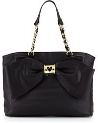 Betsey Johnson Bow Tie Faux-leather Tote - Lyst