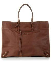 Balenciaga Chestnut Leather 'Papier' Shopping Tote - Lyst