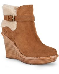 Ugg Suede Sheepskin Wedge Ankle Boots - Lyst