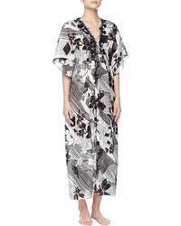 Oscar de la Renta - Twilight Garden Floral Embroidered Caftan Gown - Lyst